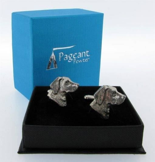 Labrador Head Cufflinks - high quality pewter gifts from Pageant Pewter