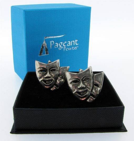 Theatrical Mask Cufflinks - high quality pewter gifts from Pageant Pewter
