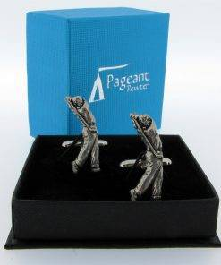 Golfer Cufflinks - high quality pewter gifts from Pageant Pewter