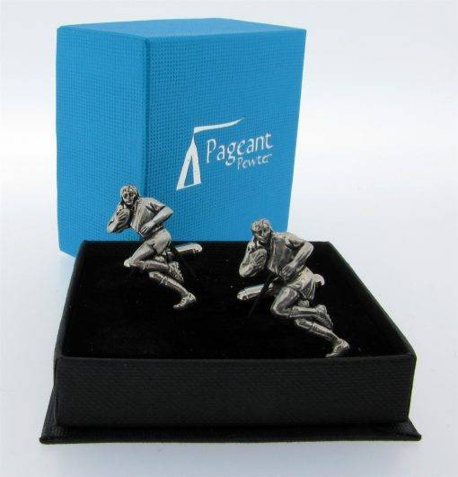 Rugby Cufflinks - high quality pewter gifts from Pageant Pewter