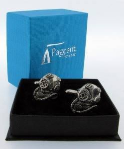 Diving Helmet Cufflinks - high quality pewter gifts from Pageant Pewter