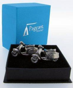 Scooter (L) Cufflinks - high quality pewter gifts from Pageant Pewter