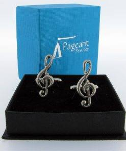 Treble Clef Cufflinks - high quality pewter gifts from Pageant Pewter
