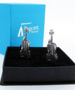 Violin Cufflinks - high quality pewter gifts from Pageant Pewter