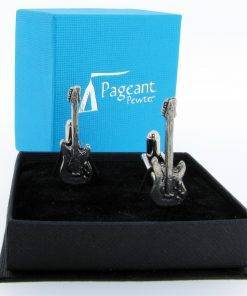 Electric Guitar (S) Cufflinks - high quality pewter gifts from Pageant Pewter