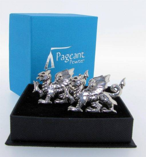 Welsh Dragon Cufflinks - high quality pewter gifts from Pageant Pewter