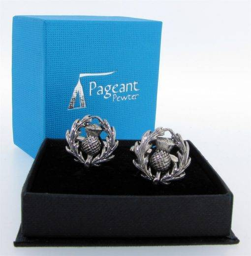 Thistle Cufflinks - high quality pewter gifts from Pageant Pewter