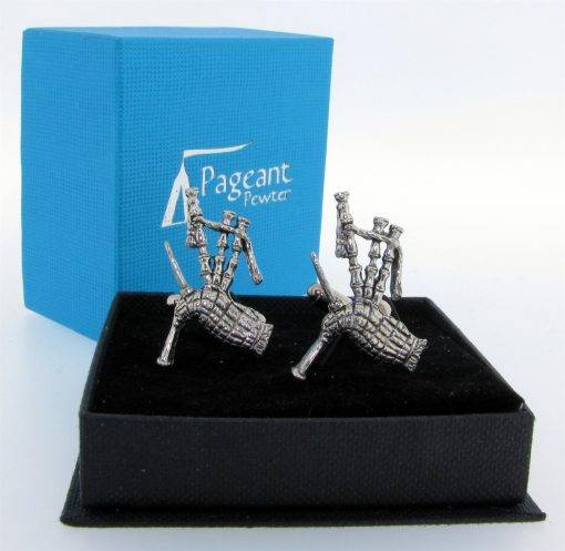 Bagpipes Cufflinks - high quality pewter gifts from Pageant Pewter