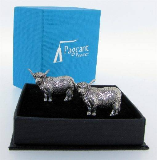 Highland Cow Cufflinks - high quality pewter gifts from Pageant Pewter