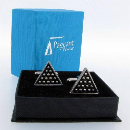 Snooker Triangle Cufflinks - high quality pewter gifts from Pageant Pewter