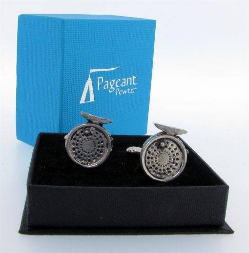 Fishing Reel Cufflinks - high quality pewter gifts from Pageant Pewter