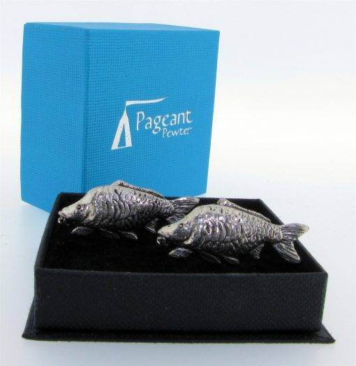 Carp Cufflinks - high quality pewter gifts from Pageant Pewter