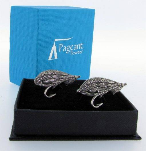 Salmon Fly Cufflinks - high quality pewter gifts from Pageant Pewter