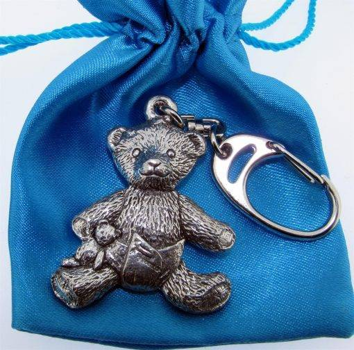 Teddy Bear Keyring - high quality pewter gifts from Pageant Pewter