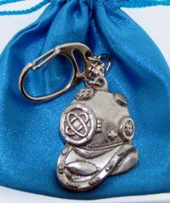 Diving Helmet Keyring - high quality pewter gifts from Pageant Pewter