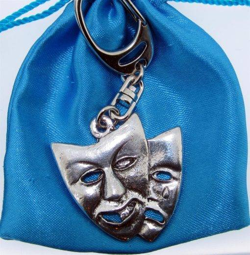 Theatrical Mask Keyring - high quality pewter gifts from Pageant Pewter