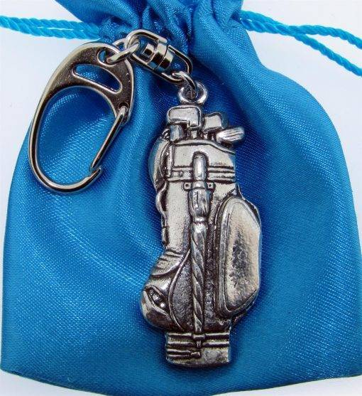 Golf Bag Keyring - high quality pewter gifts from Pageant Pewter