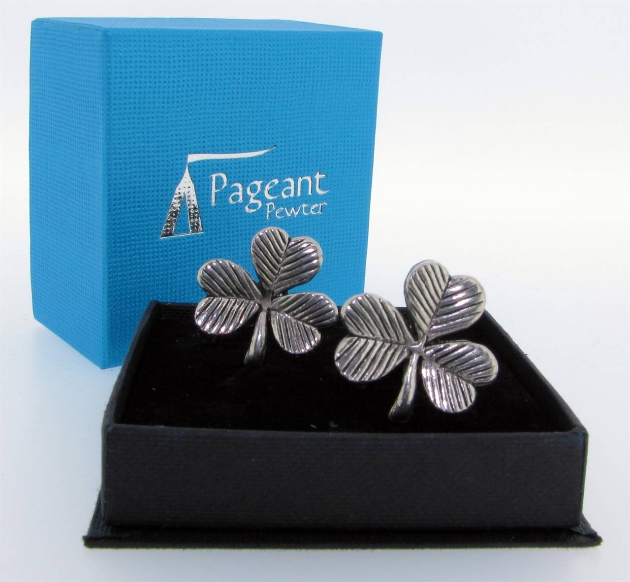 Shamrock Cufflinks - high quality pewter gifts from Pageant Pewter