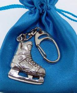 Ice Hockey Boot Keyring - high quality pewter gifts from Pageant Pewter
