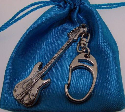 Bass Guitar Keyring - high quality pewter gifts from Pageant Pewter