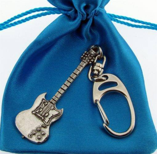 Electric Guitar (SG) Keyring - high quality pewter gifts from Pageant Pewter