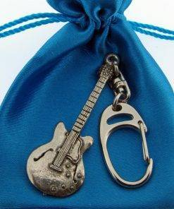 Electric Guitar (335) Keyring - high quality pewter gifts from Pageant Pewter
