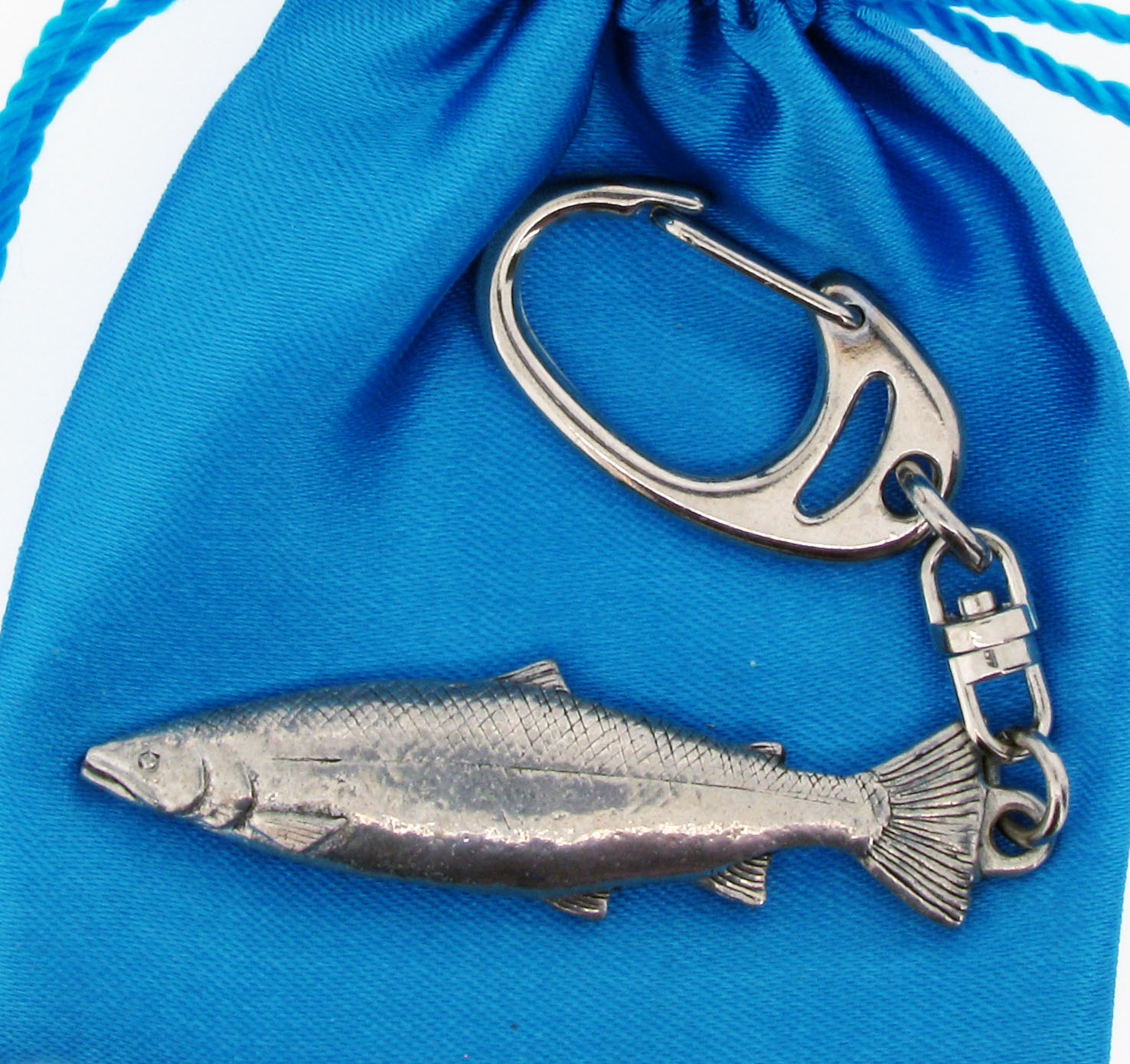 Salmon Keyring - high quality pewter gifts from Pageant Pewter