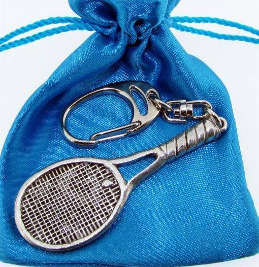 Tennis Racquet Keyring - high quality pewter gifts from Pageant Pewter