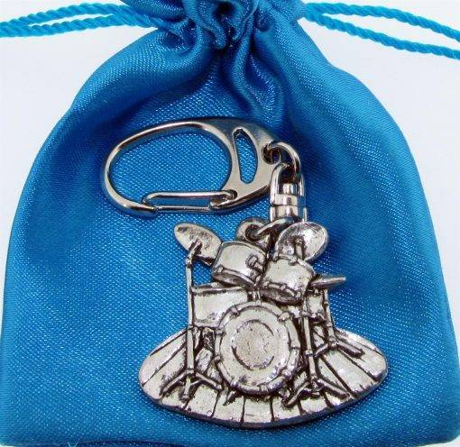 Drum Kit Keyring - high quality pewter gifts from Pageant Pewter