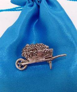 Wheelbarrow Pin Badge - high quality pewter gifts from Pageant Pewter