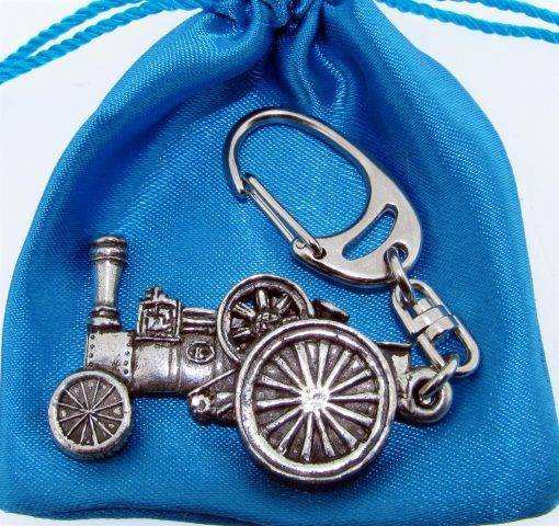 Traction Engine Keyring - high quality pewter gifts from Pageant Pewter