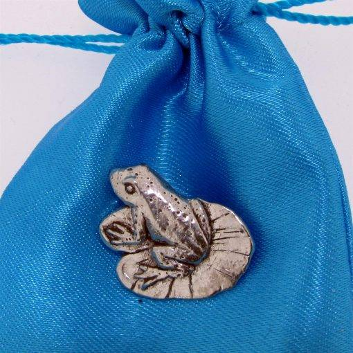 Frog on Lilypad Pin Badge - high quality pewter gifts from Pageant Pewter