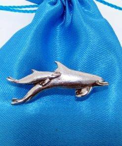 Dolphins Pin Badge - high quality pewter gifts from Pageant Pewter