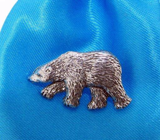 Polar Bear Pin Badge - high quality pewter gifts from Pageant Pewter