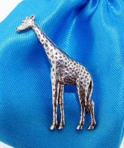 Giraffe Pin Badge - high quality pewter gifts from Pageant Pewter