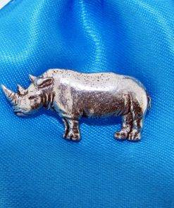 Rhino Pin Badge - high quality pewter gifts from Pageant Pewter