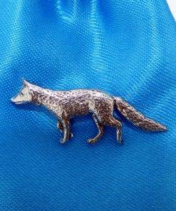 Fox Pin Badge - high quality pewter gifts from Pageant Pewter