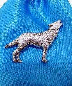 Wolf Pin Badge - high quality pewter gifts from Pageant Pewter