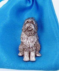 Bearded Collie Pin Badge - high quality pewter gifts from Pageant Pewter