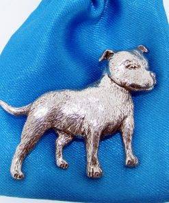 Satfforshire Bull Terrier Pin Badge - high quality pewter gifts from Pageant Pewter