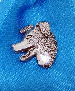 Border Collie Head Pin Badge - high quality pewter gifts from Pageant Pewter