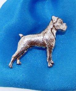 Boxer Dog Pin Badge - high quality pewter gifts from Pageant Pewter