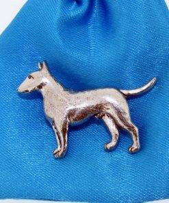 English Bull Terrier Pin Badge - high quality pewter gifts from Pageant Pewter