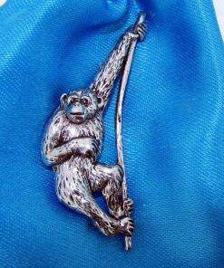 Monkey - Chimpanzee Pin Badge - high quality pewter gifts from Pageant Pewter