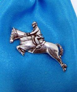 Showjumper Pin Badge - high quality pewter gifts from Pageant Pewter