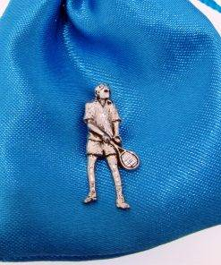 Tennis Player Pin Badge - high quality pewter gifts from Pageant Pewter