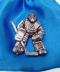 Ice Hockey Net Minder Pin Badge - high quality pewter gifts from Pageant Pewter