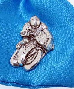 acing Bike Pin Badge - high quality pewter gifts from Pageant Pewter
