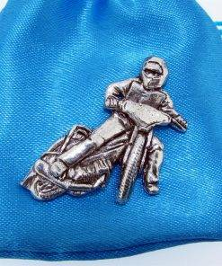 Speedway Bike Pin Badge - high quality pewter gifts from Pageant Pewter