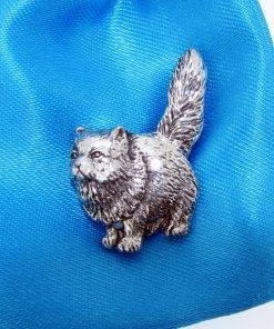 Persian Cat Pin Badge - high quality pewter gifts from Pageant Pewter
